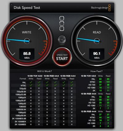 スピードテストLaCieのポータブルHDD(2011年製)ExpressカードのUSB3.0で