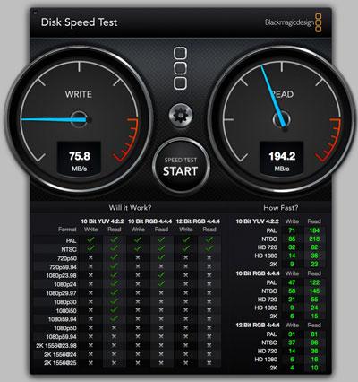 スピードテストLaCie RuggedKey 32GB USBフラッシュメモリー ExpressカードのUSB3.0