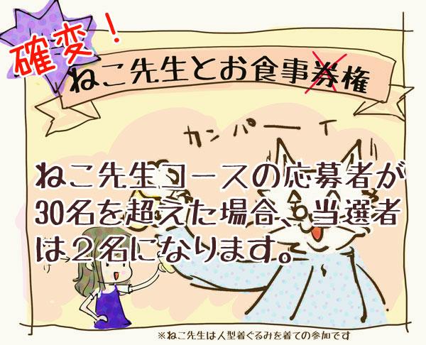 リンあれ3周年企画特賞ねこ先生とお食事権の当選者が増えるかも?!