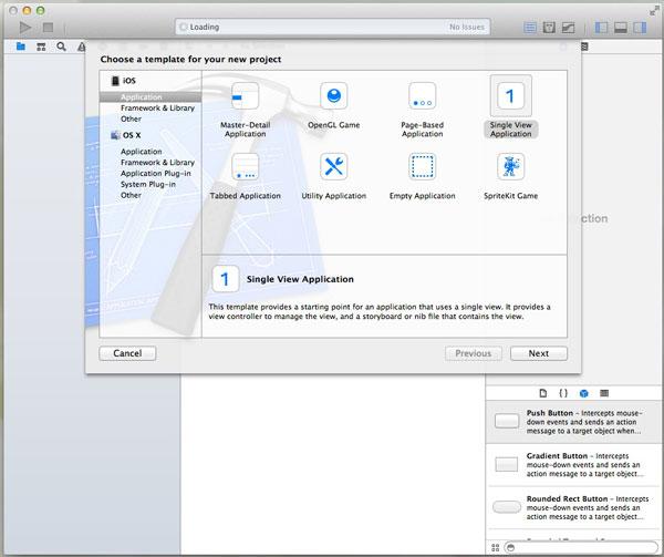 Xcode、作りたいアプリの種類を選ぶ