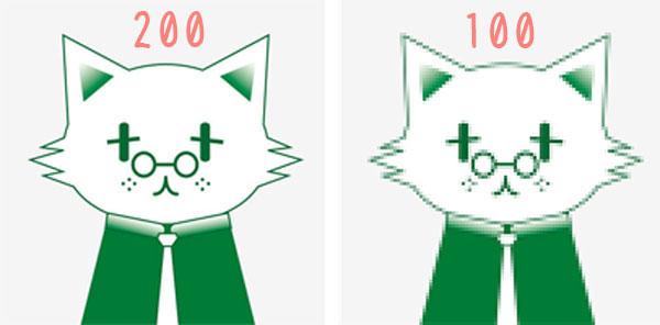 ねこ先生画像で比較、200ppiと100ppi