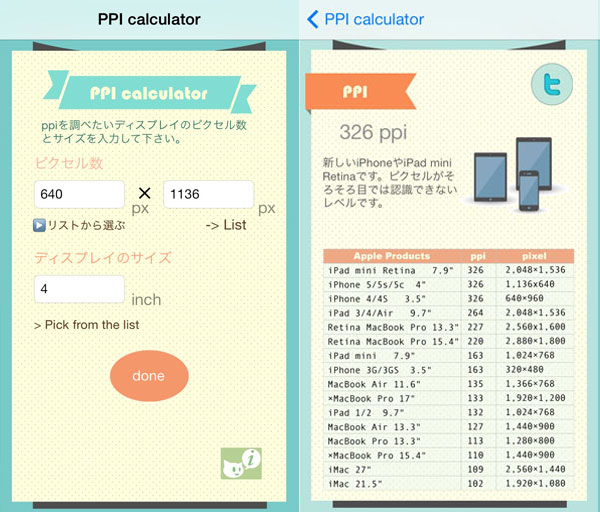 アプリ道場宿題、ppi計算機
