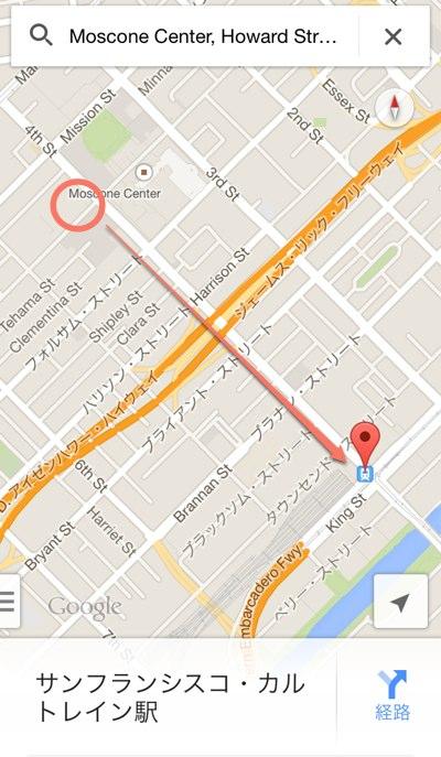WWDCの会場モスコーンウェストからカルトレインのサンフランシスコ駅の地図