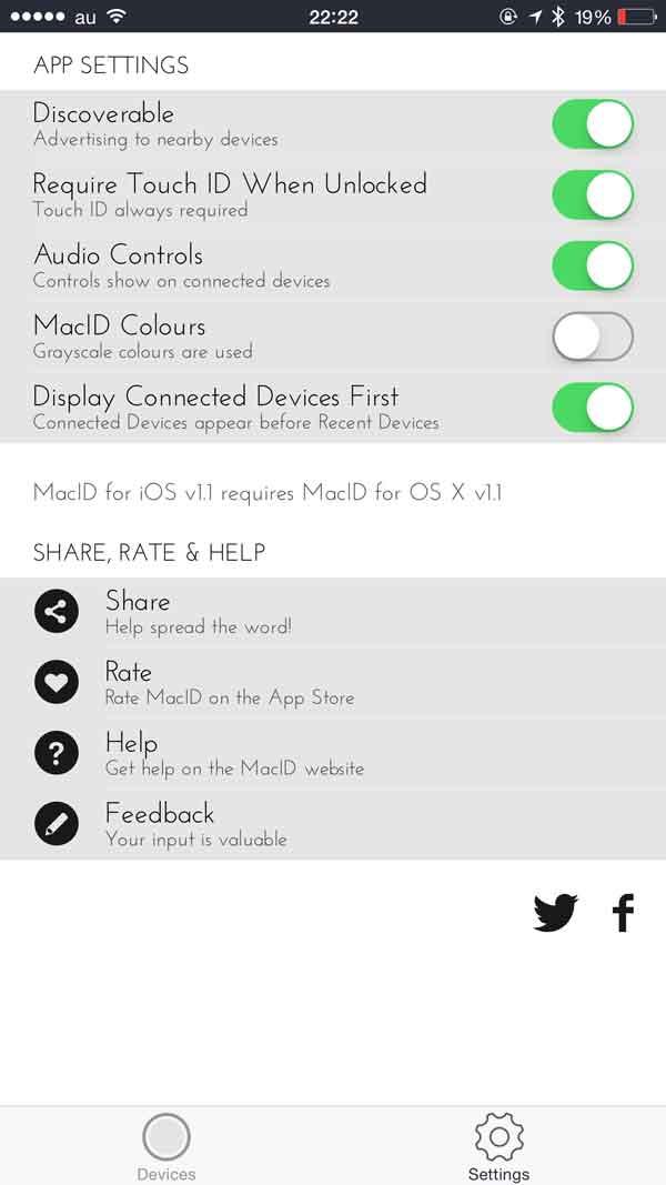 MacID for iOSの設定画面