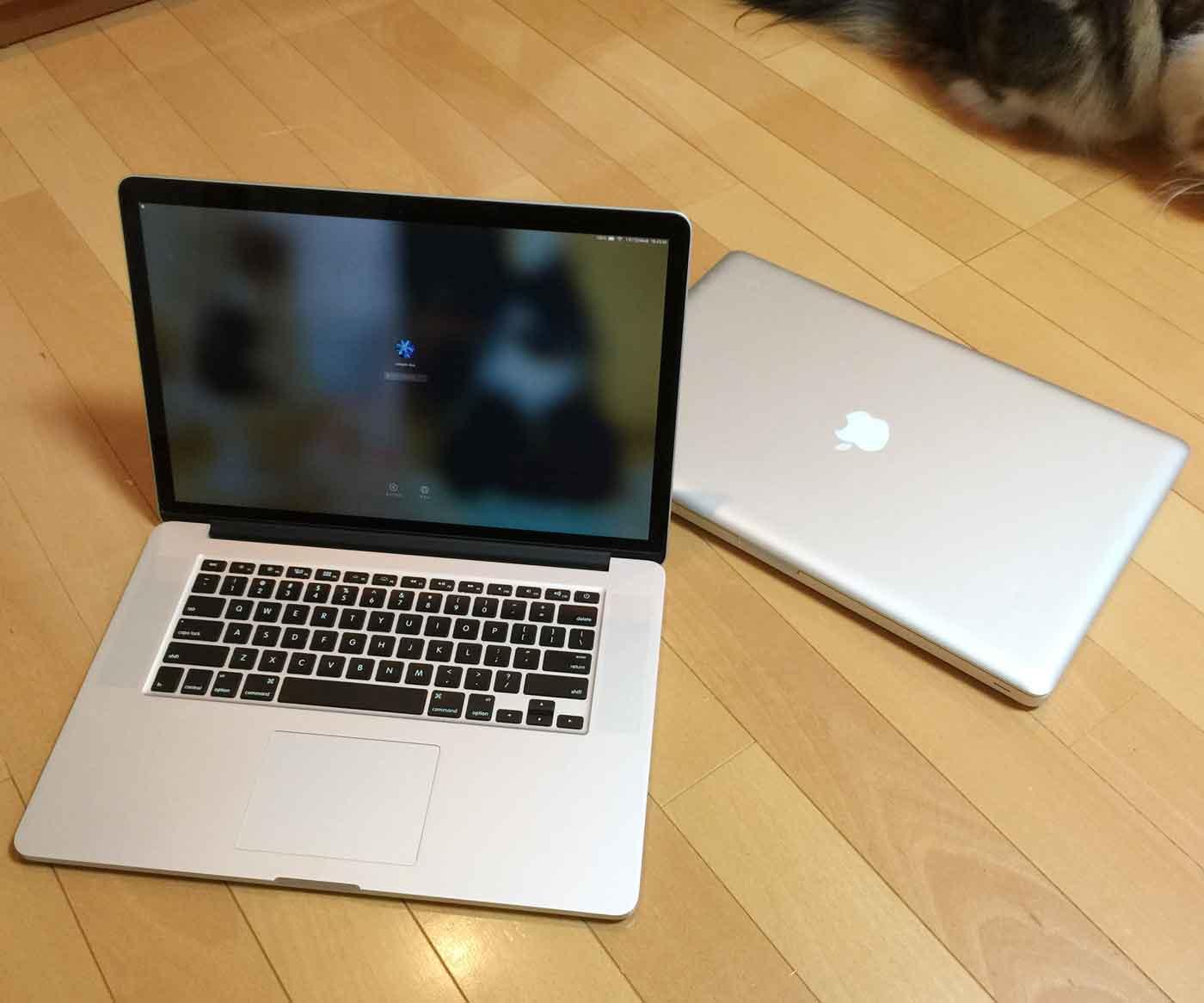15インチのMacBook Pro Retinaディスプレイモデルと17インチのMacBook Pro