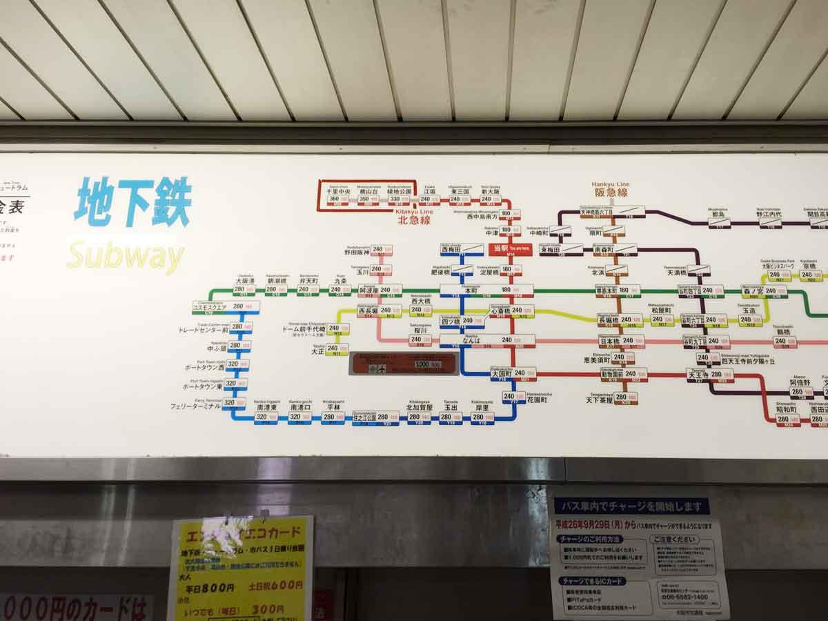 御堂筋線路線図
