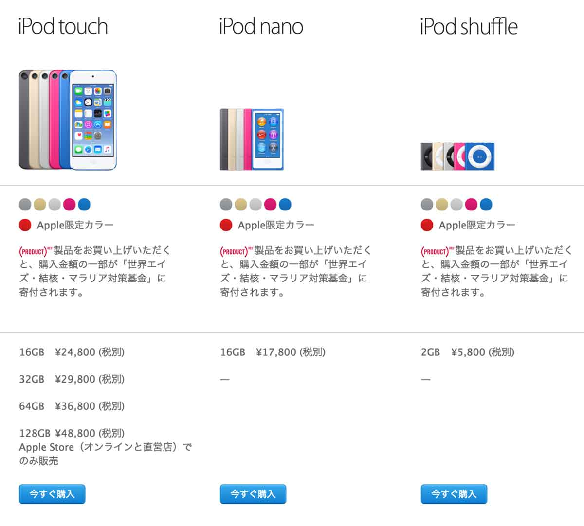iPod touch(6th Gen.)iPod nano(7th Gen.)iPod shuffle(7th Gen.)比較