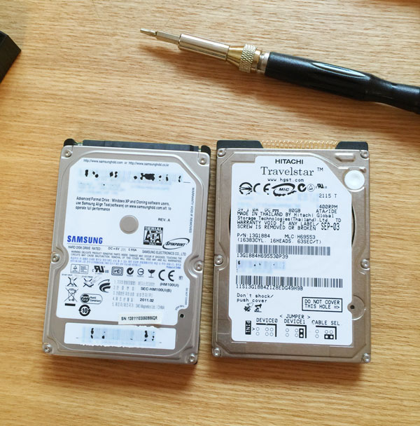 これから物理的に破壊されるHDDたち