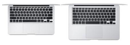 新型MacBook air、11インチと13インチのキーボード比較