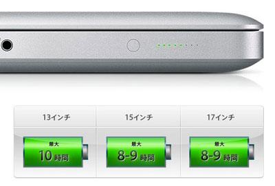 MacBook Pro(mid 2010)のバッテリー駆動時間表