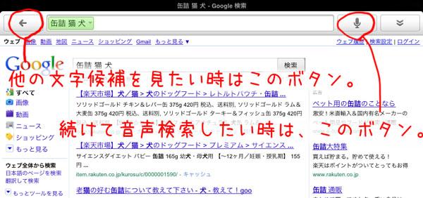 Google Mobile Appの検索結果画面