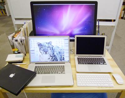 iMac27インチ、MacBook Air13インチ、MacBook Pro17インチ、MacBook黒