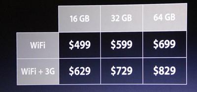 iPad2価格表(US)