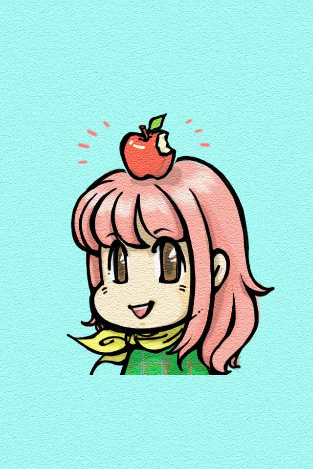 iPhoneロック画面用「yucovinりんご」