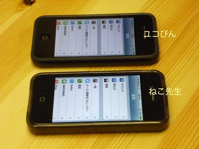 斜めから見ると、yucoviniPhone4は暗い。