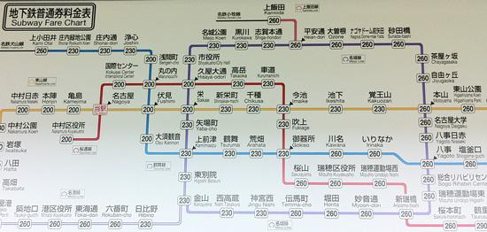 名古屋の地下鉄の路線図