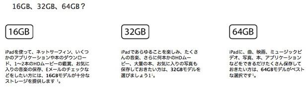 iPadの容量は16GB  32GB  64GBの3種類