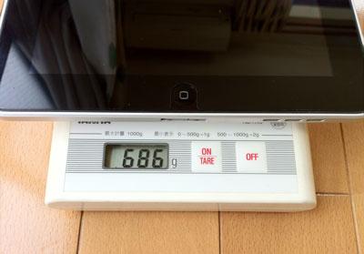 初代iPad Wi-Fiモデル64GBの重さ686g