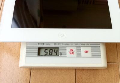 iPad 2 Wi-Fiモデル64GBの重さ584g