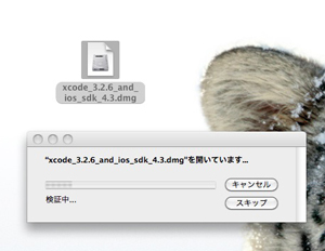 Xcode 3.2.6 and iOS SDK 4.3は大きいファイルなので開くのにも時間がかかる