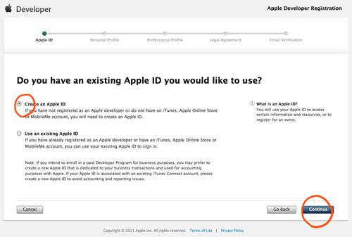 Appleデベロッパの登録ページ1