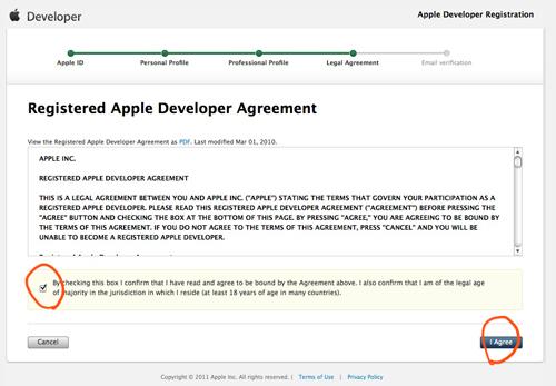 Appleデベロッパの登録ページ4