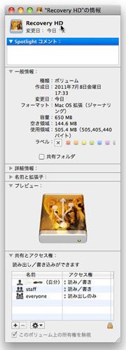 LionリカバリーUSBメモリのアイコンがメスライオンのなりました。