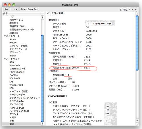 MacBook Pro(Early 2011)17inch 最初のバッテリーの状態