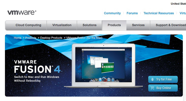 本家のVMware Fusion 4