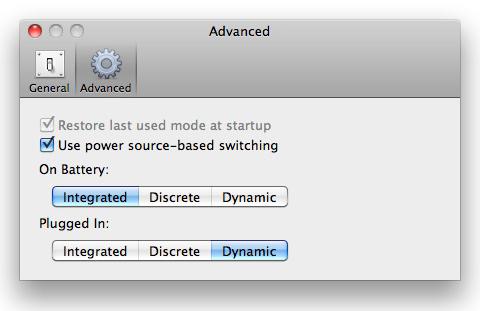 gfxCardStatusの環境設定。バッテリー駆動時と電源アダプタ駆動時とモードを細かく設定できる。