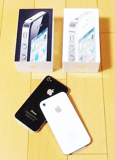 iPhone 4(SoftBank)とSIMフリーiPhone 4Sの2ショット