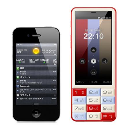 INFOBAR C01とiPhone 4Sとのサイズ比較図