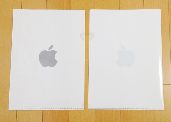 Appleオリジナルのりんごマークのクリアファイル、表、裏