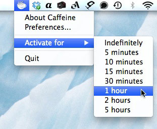 Caffeineのアイコンを右クリックすると出てくるメニュー。タイマー指定できる。