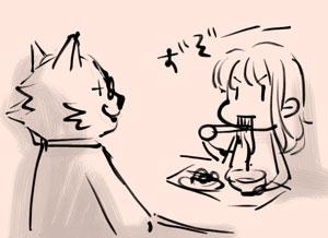 お蕎麦をずぞーとすするユコびん
