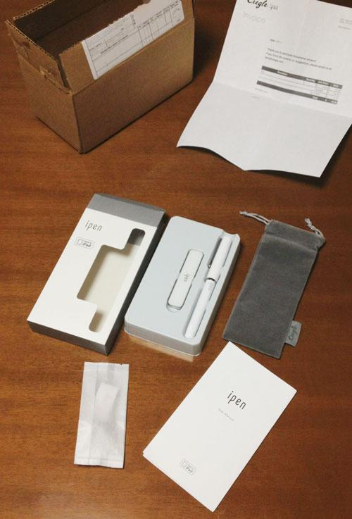 iPenの内容物、iPen本体、レシーバー、ポーチ、説明書