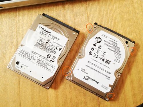 アップル純正のHDD(TOSHIBA MK7559GSXF)750GB 5,400rpmと、ハイブリッドHDD (Seagate ST750LX003)750GB 7,200rpm