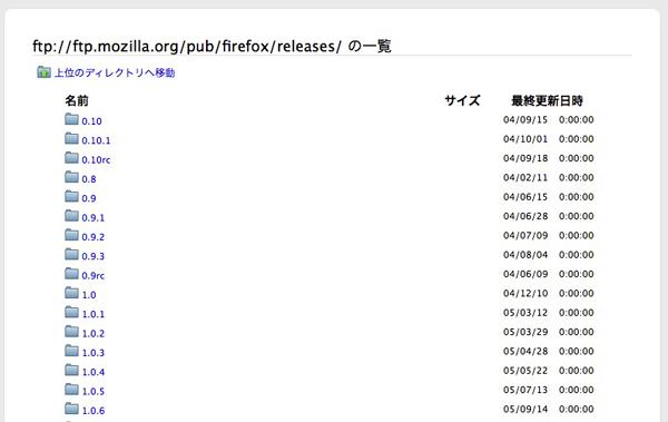 Firefox、Mozillaのftpサーバー