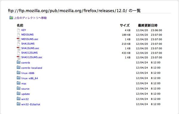 Firefox、Mozillaのftpサーバー、お目当てのバージョンを探す。
