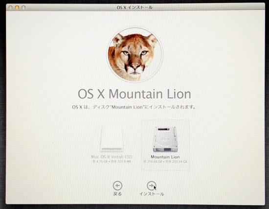 Mountain Lionを入れるディスクを選ぶ。