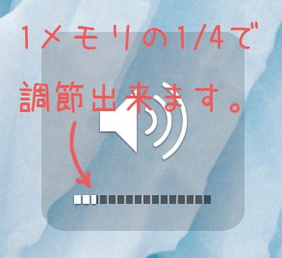 Macの音量(ボリューム)はメモリ1/4で微調節出来る。