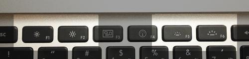 MacのFnキー、ディスプレイの輝度やキーボードのバックライトを調節する。